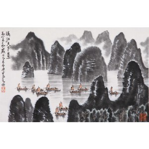 中国近代杰出的画家、诗人   李可染款《漓江天下景》