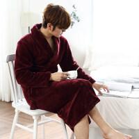 睡袍女士秋冬季珊瑚绒男士睡衣加厚加长款浴衣性感情侣浴袍 F