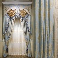0719222910723欧式窗帘遮光客厅卧室简欧美式雪尼尔加厚遮光布窗帘成品简约现代 蝉居原版(不含加工费)