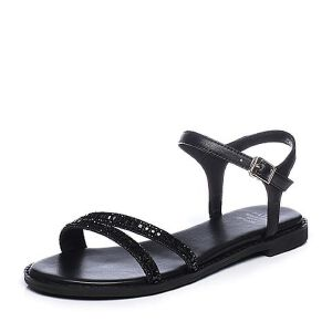 Tata/他她2018夏拼接水钻一字带休闲方跟女凉鞋S2A15BL8