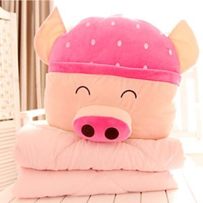 可爱创意熊猫/麦兜猪 加厚大号棉空调被 靠垫抱枕被子两用