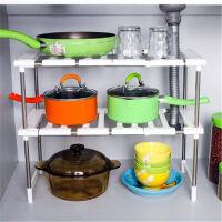 多功能可伸缩下水槽架置物架调味品储物架锈钢厨房锅盆收纳层架