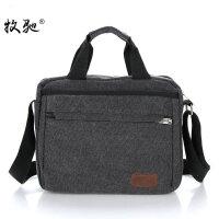 男包手提包横款商务单肩包帆布斜挎包休闲公文包IPAD9.7寸电脑包