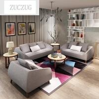 ZUCZUG北欧小户型单人双人三人布艺沙发可拆洗客厅现代简约沙发 超柔棉麻/灰色