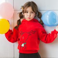 女童红色卫衣新款韩版连帽套头女大童冬儿童圣诞童装