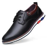 皮鞋男商务休闲鞋软底青年透气圆头韩版潮鞋子男士英伦系带小皮鞋 2671 黑色