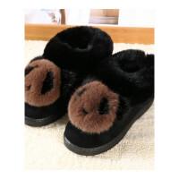 室内家居棉鞋高跟坡跟防滑冬季女士包跟厚底韩版可爱棉拖鞋女冬天软底