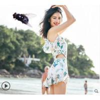 沙滩泳衣小清新加大码游泳装裙式连体泳衣女保守遮肚显瘦小胸聚拢钢托