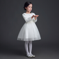 女童礼服长袖公主裙蓬蓬裙儿童礼服婚纱裙钢琴表演服花童礼服女春4792 白色