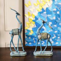 家居饰品创意鹿摆件 欧式卧室家居饰品客厅电视柜酒柜装饰品摆设 一对鹿摆件