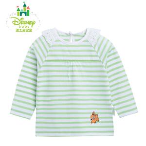 迪士尼Disney女童夏季条纹花边圆领T恤女宝宝长袖婴儿上衣161S790