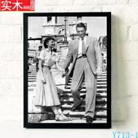 罗马假日经典爱情电影海报装饰画怀旧复古咖啡厅挂画墙壁画有框画
