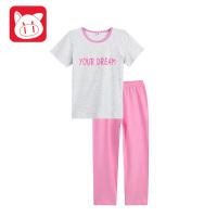 【99元3件】小猪班纳童装女孩睡衣儿童两件套2018夏装新款女童家居服套装