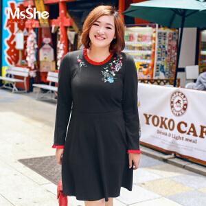 MsShe大码女装2017新款冬胖mm遮肚力针织人棉连衣裙M1740416