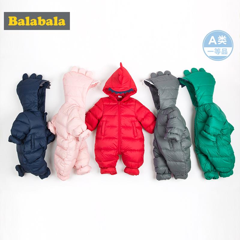 巴拉巴拉婴儿连体衣秋冬哈衣新生儿衣服宝宝爬爬服潮服0-3个月鸭绒 白鸭绒卡通连体衣穿出萌趣感