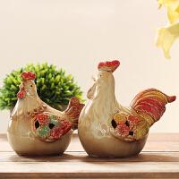 陶瓷公鸡摆件创意家居装饰品现代简约办公室摆设生肖发财鸡