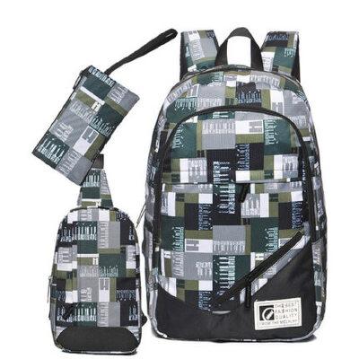 时尚潮流双肩包男中学生书包 男初中生书包高中生大学生背包休闲包
