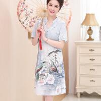 中老年女装夏装短袖真丝连衣裙40-50年轻妈妈女人桑蚕丝上衣裙子