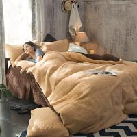 春秋季保暖羊羔绒四件套加厚被套床单珊瑚绒法莱绒床上用品