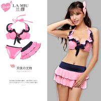 夏季纯色文胸内裤3件分体裙式套装 少女情趣泳装内衣
