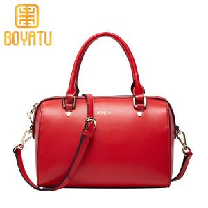 【支持礼品卡】柏雅图 新款波士顿女包休闲纯色手提包时尚优雅单肩包斜挎女包包