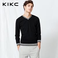 【商场同款】kikc针织衫男 2018春季新款纯色时尚V领长袖上衣男