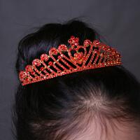 儿童精美红色水晶皇冠公主演出发饰女童花童闪亮水钻王冠发箍头饰2434