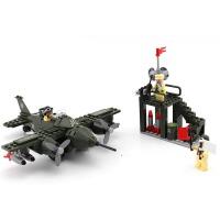 启蒙积木拼装玩具拼插军事战斗机模型6-10岁男孩玩具军事系列810 儿童礼物 拼装积木玩具 225块颗粒