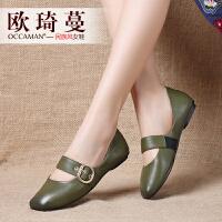 欧琦蔓2017秋新款穆勒鞋原创方头单鞋女手工低跟软底牛皮鞋63051