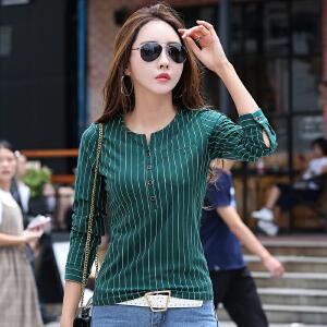 秋冬季新款女装上衣小V领t恤女长袖带扣百搭显瘦条纹打底体恤衣