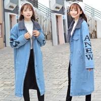 冬季加绒加厚棉袄羊羔毛牛仔外套女中长款宽松韩版学生b棉衣 蓝色