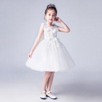 白色女童公主裙花童蓬蓬纱礼服儿童夏季婚礼演出服小孩生日