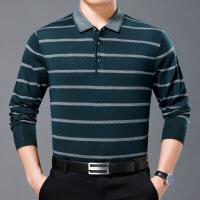 №【2019新款】胖子冬天穿的中年男士长袖t恤羊毛衫中老年男装薄款翻领T恤加大码
