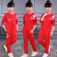 女童秋装套装2018新款夏儿童衣服女孩中大童运动服春秋童装两件套 长袖花套装红色 110cm