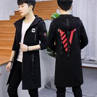 青少年风衣男士中长款春秋高中学生修身帅气韩版潮流春季大衣外套