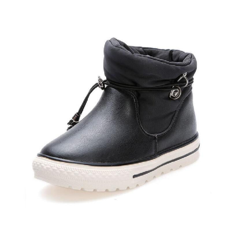 比比我靴子冬季 男童马丁靴 女童加绒短靴 儿童中大童防水靴短靴