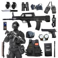 帽子背心男孩3-11岁 电动枪儿童玩具枪cs装备套装