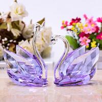 创意结婚礼物送闺蜜新婚水晶天鹅客厅电视酒柜摆件家居装饰工艺品