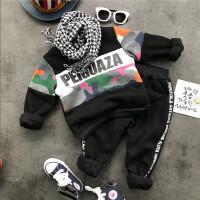 韩国童装冬季新款男童加厚加绒长袖迷彩卫衣+卫裤2件套装B9-T29