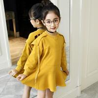女童卫衣裙春装新款韩版中大童运动连帽卫衣连衣裙儿童裙子
