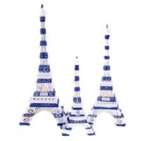 欧式 蓝白相间条纹埃菲尔铁塔模型 创意工艺品家居摆件