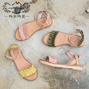 玛菲玛图新款凉鞋女夏平底罗马凉鞋女一字扣后绊带露趾休闲简约沙滩鞋M19810882T1M