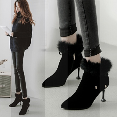 细跟高跟短靴女毛毛靴子女冬加绒加厚保暖尖头真皮女靴防滑冬靴子SN1719
