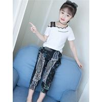 新款套装韩版儿童装短袖露肩两件套洋气潮