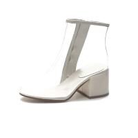 2018秋欧美新款网红水晶透明凉靴女粗跟ins高跟时尚短靴潮雨鞋女