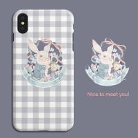 插画师灰紫色格子兔子iphonexs 78 6华为 OPPO 小米手机壳