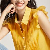 【清仓88元】梵希蔓心机衬衫设计感超仙女飞飞袖2019夏季新款琴褶衬衣女