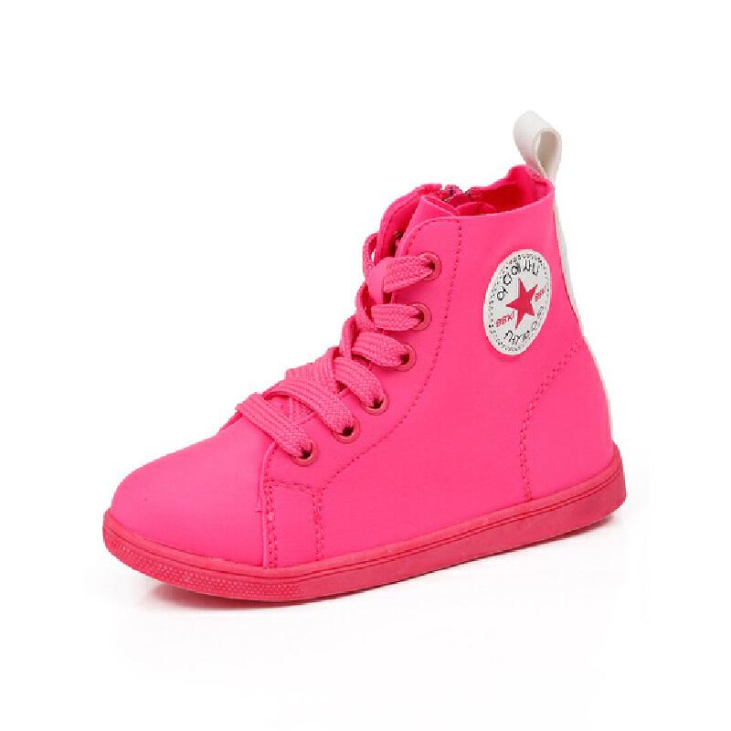 比比我童鞋高帮儿童休闲鞋2017新款帆布高帮透气男童时装鞋韩版舒适洋气女童鞋【每满100减50】