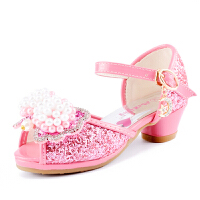 HugBear 女童凉鞋2017夏季新款儿童高跟鞋中大童夏天水晶鞋韩版鱼嘴公主鞋