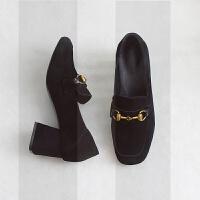 懒人一脚蹬毛毛鞋女冬外穿高跟单鞋2018新款粗跟乐福鞋加绒豆豆鞋SN7629 黑色 单里款